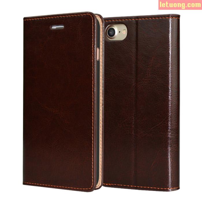 Bao da Iphone 8, Iphone 7 Haoyue Wallet hanmade da thật + kính cường lực