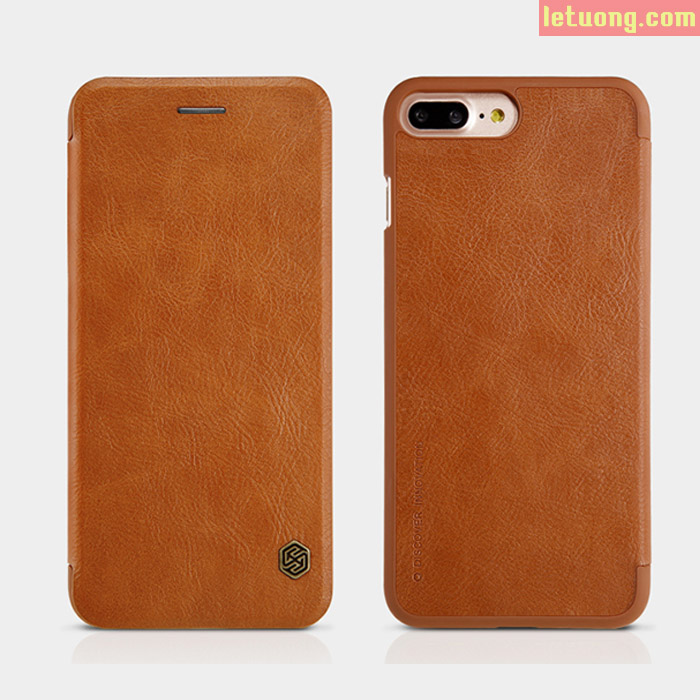 Bao da Iphone 7 Plus, Iphone 8 Plus Nillkin Leather sang trọng + kính cường lực