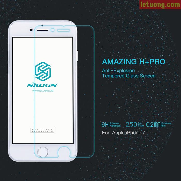 Kính cường lực Iphone 8, Iphone 7 Nillkin Amazing H+ Pro 0,2mm + dán lưng carbon