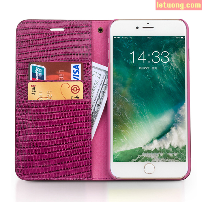 Bao da Iphone 7 Plus, Iphone 8 Plus Qialino Crocodile Rose Red Hanmade + kính