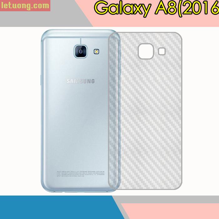 Miếng dán full mặt lưng Galaxy A8 2016 vân Carbon trong suốt