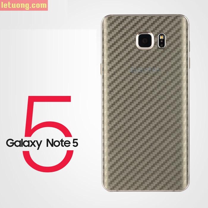 Miếng dán full mặt lưng Galaxy Note 5 vân Carbon trong suốt