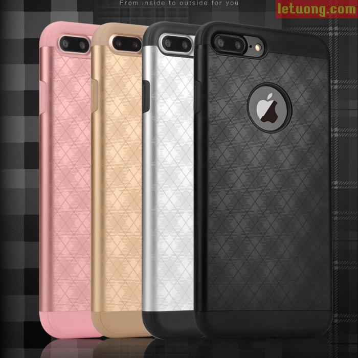 Ốp lưng Iphone 7 Plus, Iphone 8 Plus YED Metal + khung mềm TPU + kính cường lực