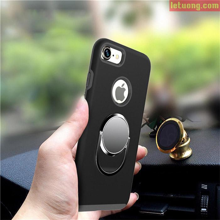Ốp lưng Iphone 8, Iphone 7 LT Armor xoay 360 + dán đế trên ô tô + kính cường lực