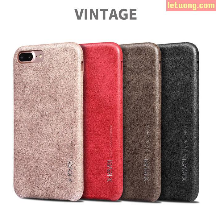 Ốp lưng Iphone 7 Plus, Iphone 8 Plus X-Level Vintage vân da cổ điển độc đáo sang trọng