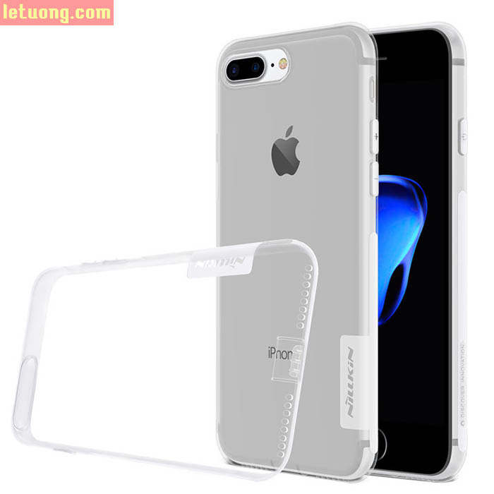 Ốp lưng Iphone 8 Plus, Iphone 7 Plus Nillkin Nature TPU nhựa dẻo trong suốt