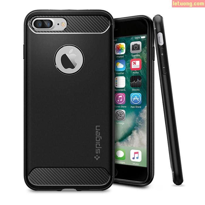 Ốp lưng Iphone 7 Plus, Iphone 8 Plus SPIGEN Rugged Armor nhựa mềm chống sốc